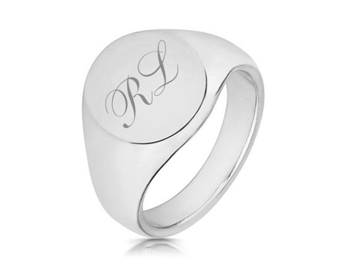 Gents 14x12mm Oval Signet Ring Engraved Monogram Initials 925 Sterling Silver