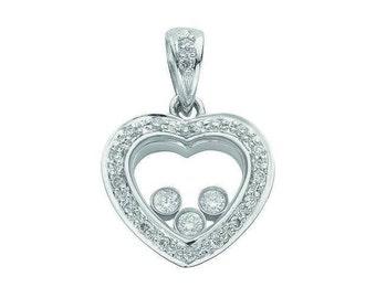 9ct White Gold 0.17ct Trilogy Floating Diamond Heart Pendant