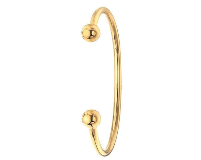 Men's Solid 9ct Yellow Gold 8mm Ball Torque Bangle 24g Hallmarked
