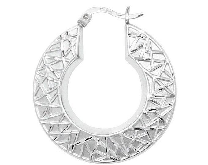 Pair of Sterling Silver Geometric Design Hollow Creole 30mm Hoop Earrings