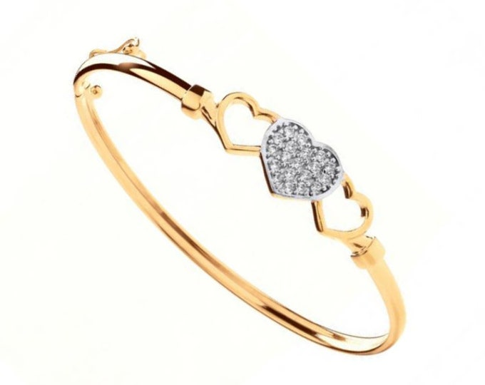 9ct Yellow Gold Trilogy Cz Heart Hinged Baby Bangle Hallmarked
