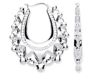 Large 4cm Oval Creole Spike Hoop Earrings 925 Sterling Silver