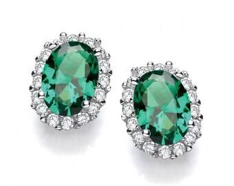 Oval Emerald Green Cz Cluster Stud Earrings 925 Sterling Silver