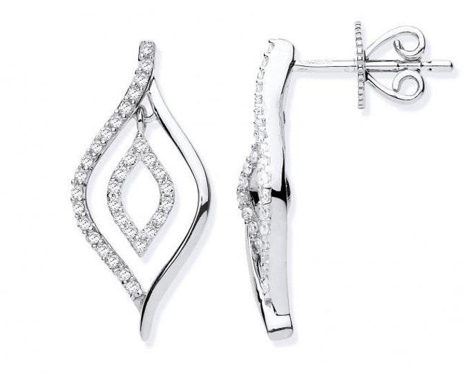 9ct White Gold 0.25ct Diamond Set Teardop Stud Earrings Hallmarked 18x8mm