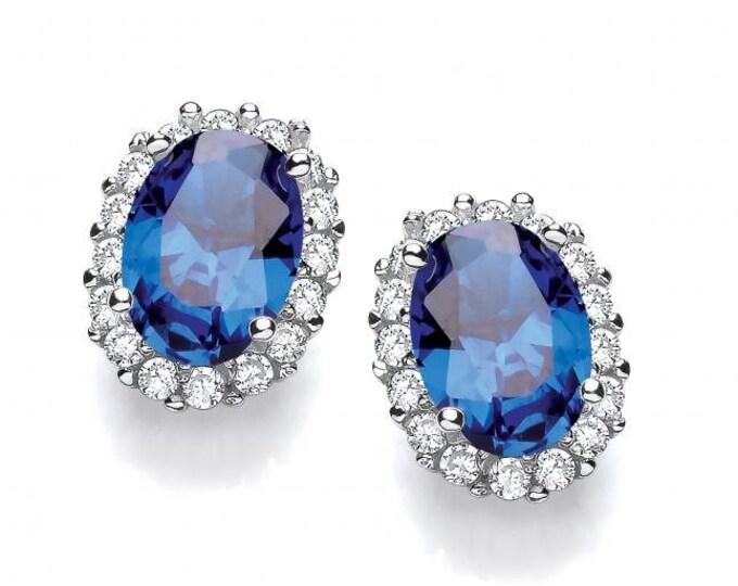 Oval Sapphire Blue Cz Cluster Stud Earrings 925 Sterling Silver