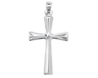 925 Sterling Silver 28x18mm Modern Plain Polished Cross Pendant