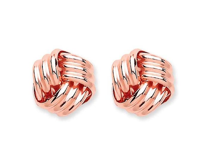 9ct Rose Gold Twisted Ribbon Knot Stud Earrings 5mm 7mm