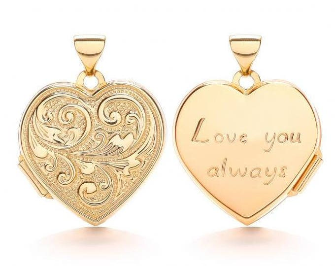 Love You Always 9ct Yellow Gold 1.8cm Heart Shaped 2 Photo Scroll Engraved Locket - Real 9K Gold