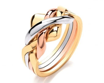 9ct White, Rose and Yellow Gold Four Row Puzzle Ring Hallmarked