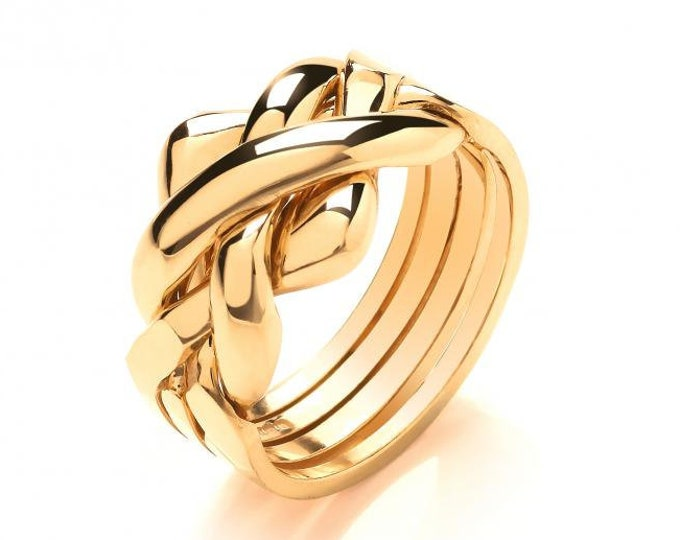 9ct Yellow Gold Four Row Puzzle Ring Hallmarked