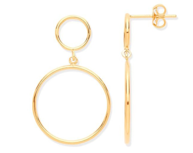 9ct Yellow Gold 2.7cm Double Eternity Circle Link Drop Earrings