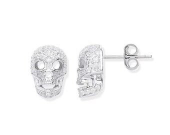 925 Sterling Silver & Micro Pave Cz Skull Stud Earrings