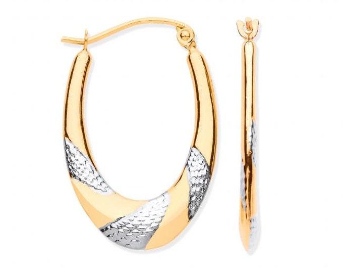 9ct 2 Colour Gold 2.5cm Diamond Cut Oval Creole Hoop Earrings