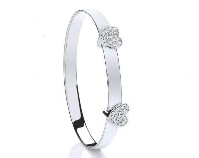 925 Sterling Silver Double Cz Heart Expandable Baby Identity Bangle