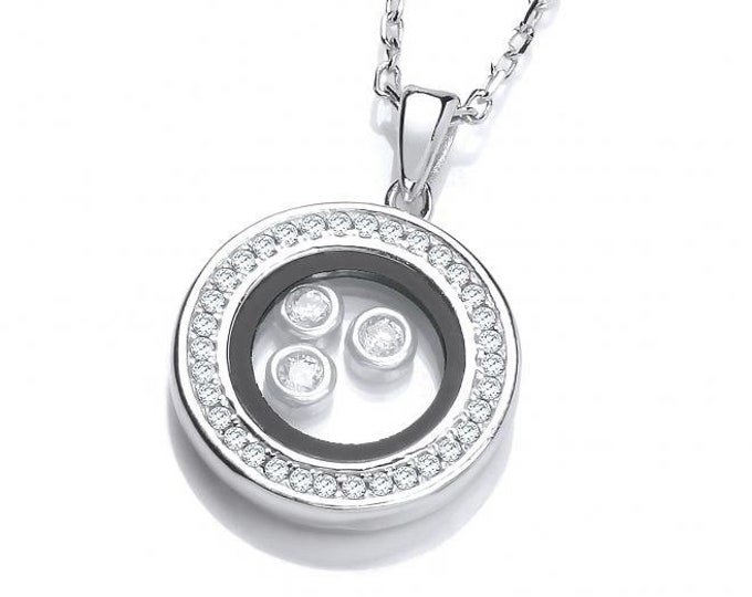 "Floating Look-of-Diamond Circle of Life Pendant Sterling Silver 16""-18"" Necklace"