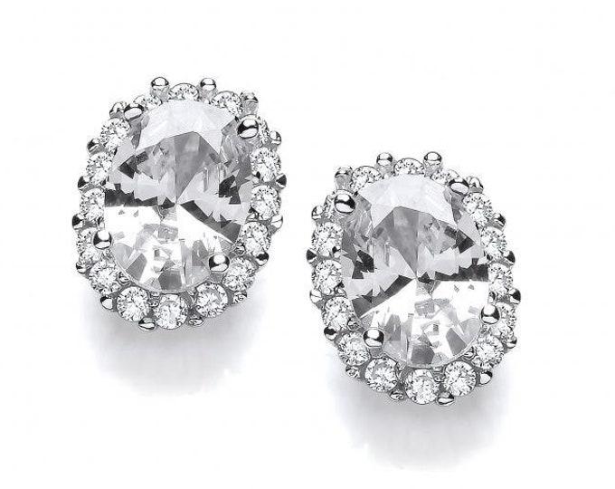 Look-of-diamond Oval Cz Cluster Stud Earrings 925 Sterling Silver