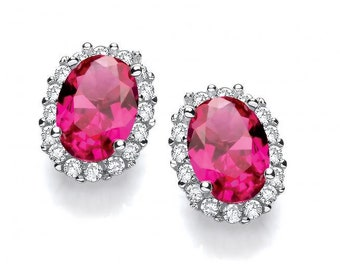 Oval Ruby Red Cz Cluster Stud Earrings 925 Sterling Silver