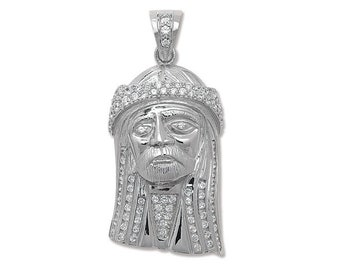 Large 925 Sterling Silver Cz Jesus Head Pendant 6.5x3cm Hallmarked