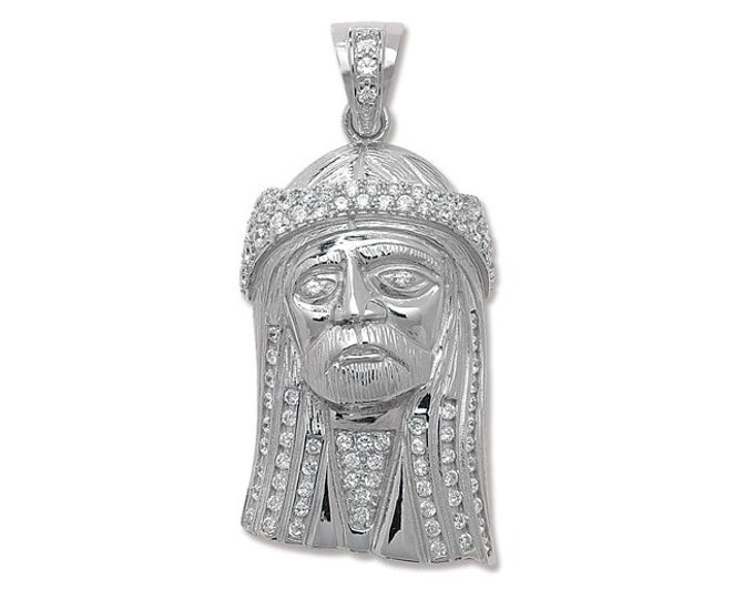 Large 925 Sterling Silver Cz Jesus Head Pendant 6.5x3cm Hallmarked