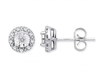 9ct White Gold 0.13ct Diamond Cluster 5mm Stud Earrings Illusion Set