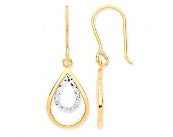 9ct 2 Colour Gold 3.3cm Diamond Cut Teardrop Pear Hook Earrings - Real 9K Gold