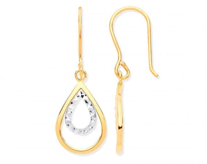 9ct 2 Colour Gold 3.3cm Diamond Cut Teardrop Pear Hook Earrings