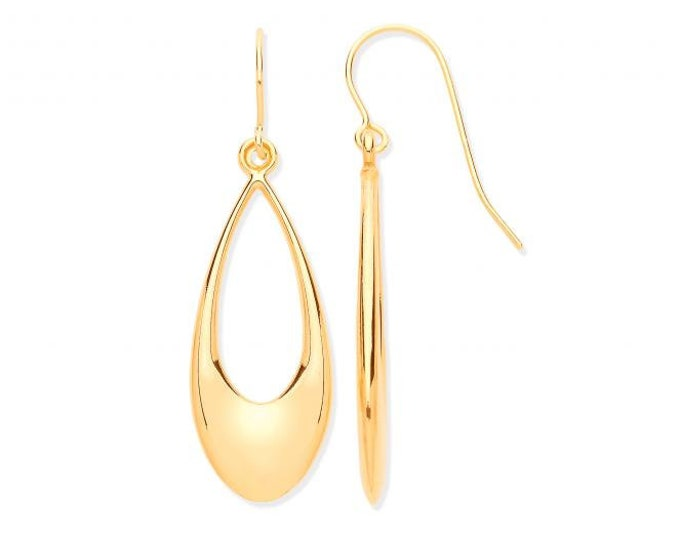 9ct Yellow Gold 3.5cm Open Teardrop Pear Hook Earrings Hallmarked