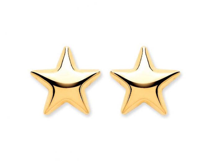 9ct Yellow Gold Hollow Domed 6mm Star Stud Earrings