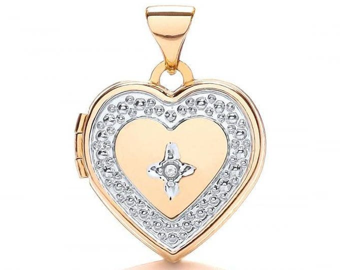 Small 9ct 2 Colour Gold Heart Shaped 2 Photo Locket Set With Single Diamond Hallmarked - Real 9K Gold