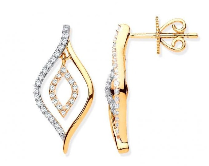 9ct Yellow Gold 0.25ct Diamond Set Teardop Stud Earrings Hallmarked 18x8mm