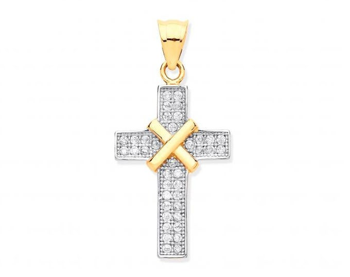 9ct Yellow Gold 2.5cm Micro Pave Cz Kiss Cross Pendant Hallmarked - Real 9K Gold