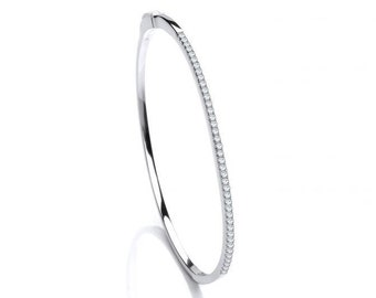 Look-of-Diamond Cz Claw Set 2mm Hinged Bangle Rhodium Plated Sterling Silver