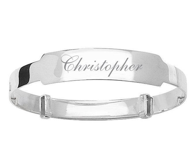 Personalised Engraved Plain 5mm Expandable Baby Name ID Bangle 925 Sterling Silver