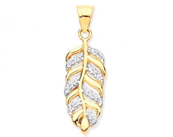 9ct Yellow Gold 2.5cm Pave Cz Feather Leaf Charm Pendant - Real 9K Gold