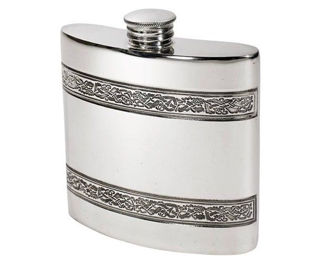 Personalised 4oz Pewter Celtic Hip Flask Customised Engraved Message & Scottish Clan Crest