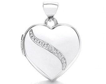 Small 9ct White Gold Heart Shaped 2 Photo Locket Set With Single Diamond Hallmarked - Real 9K Gold