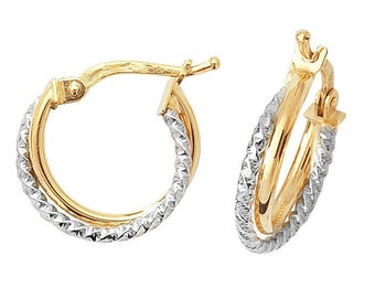 9ct Bi Colour Yellow Gold & Twisted White Gold Double Hoop Earrings