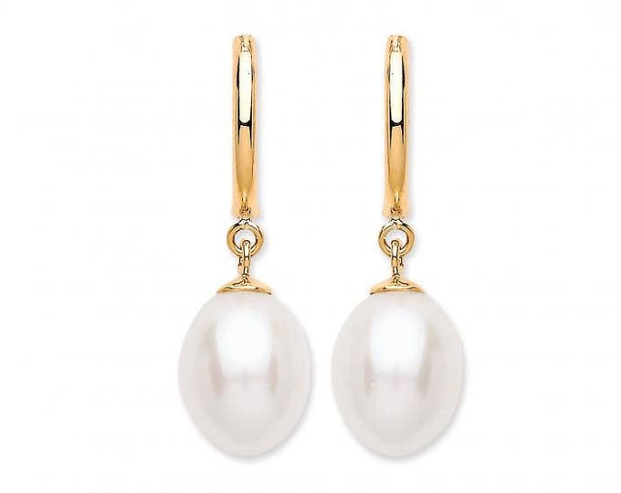 9ct Yellow Gold Oval Shaped Freshwater Pearl Drop Earrings