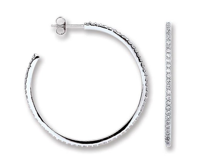 925 Sterling Silver 35mm Micro Pave Cz Open Hoop Earrings