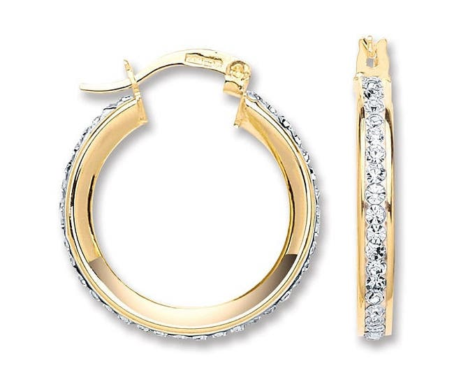 9ct Yellow Gold 2cm Channel Set Crystal Hoop Earrings Hallmarked
