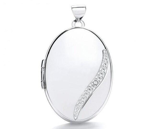 9ct White Gold Single Diamond Oval 2 Photo Bubble Wave Locket 25x18mm