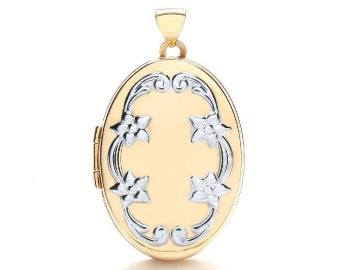9ct 2 Colour Gold Oval Shaped 2 Photo Venetian Scroll Design Locket 25x20mm