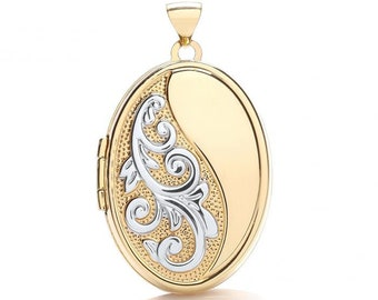 9ct 2 Colour Gold Oval Shaped Half Engraved Scroll Design Locket 25x20mm