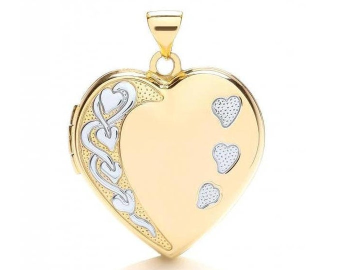 9ct 2 Colour Gold Heart Shaped 4 Photo Family Locket With Engraved Hearts