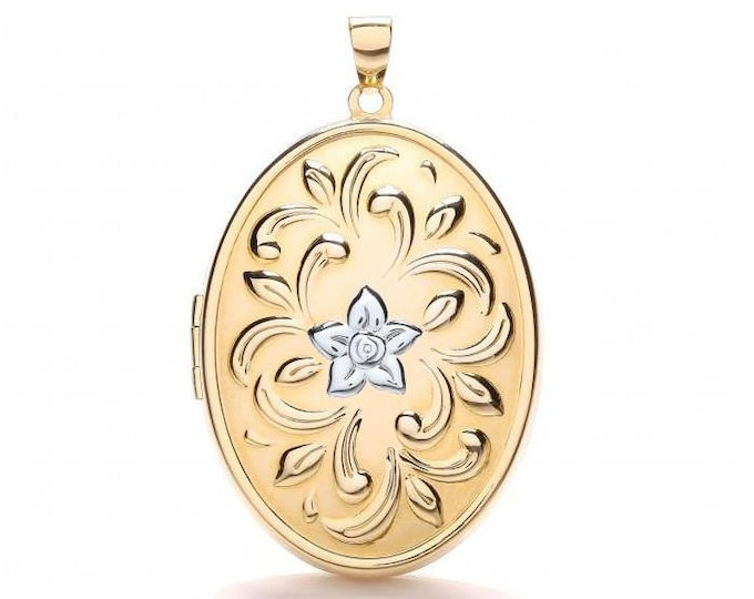 Large 9ct 2 Colour Gold 3.5x2.5cm Pretty Floral Embossed 2 Photo Oval Shaped Locket - Real 9K Gold
