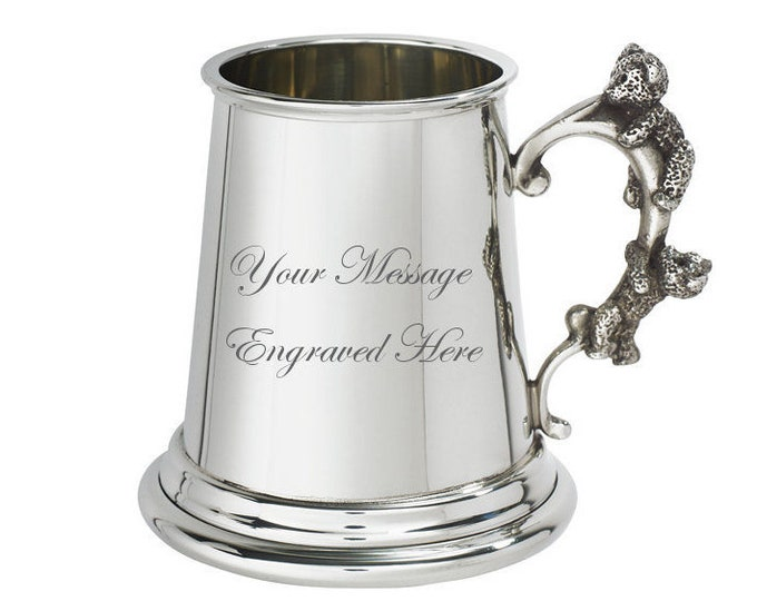 Personalised Teddy Bear Handle Pewter Baby Mug Customised Engraved Message