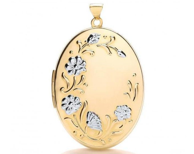 Large Floral Embossed Border 9ct 2 Colour Gold Oval Shaped Locket 3.5x2.5cm