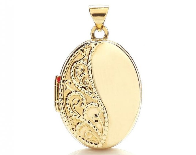 9ct Yellow Gold Oval Shaped Locket With Pretty Lace Embossed Design