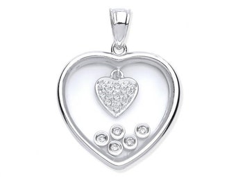 9ct White Gold 0.11ct Floating Diamond Heart Pendant With Suspended Pave Diamond Heart