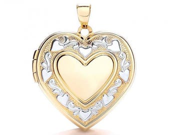 9ct 2 Colour Gold Large Heart Shaped 2 Photo Locket With Engraved Floral Border - Real 9K Gold